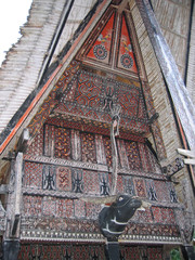 detail of a traditional toraja house, rantepao, sulawesi island,