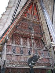 detail of a traditional toraja house, rantepao, sulawesi island,