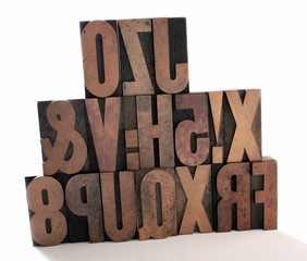 wood letters stacked