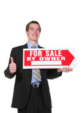 business man selling poster