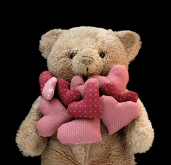 teddy bear with lots of stuffed hearts