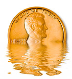 sinking one cent coin poster