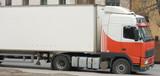 white red semi tractor trailer truck poster