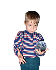 boy with planet isolated, insulated, white background, clipping,