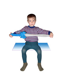 boy sitting with sword isolated, insulated, white background, cl