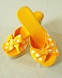 cute yellow polka dot summer shoes poster