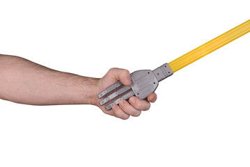 robot handshake with man