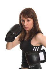 woman wearing karate gloves