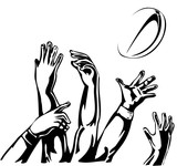 rugby lineout 5 hands catching ball poster