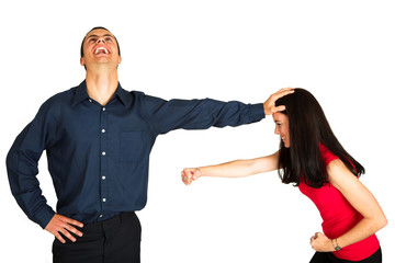 businessman fighting with businesswoman on white b