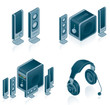 computer hardware icons set - design elements 57c
