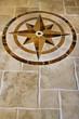 marble floor with star shape.