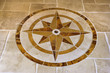 marble floor with star shape in home.