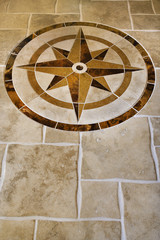 marble floor with star shape.