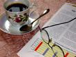 coffee, glasses, magazine