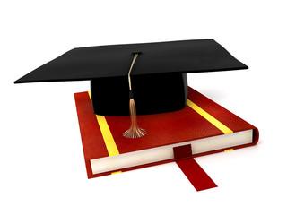 student cap on book