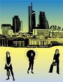 women in big city poster