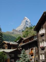 matterhorn with zermatt chalets