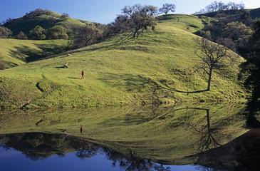 hiker on hillside reflected in pond