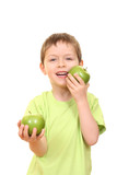 boy and apples