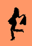 silhouette of shopping girl poster