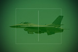 f-16 fighter jet seen through night vision lens poster