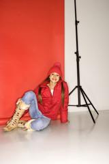 asian-american teen girl in studio setting.