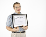young man holding certificate and smiling. poster
