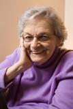 elderly caucasian woman smiling. poster