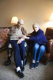 elderly caucasian  couple. poster