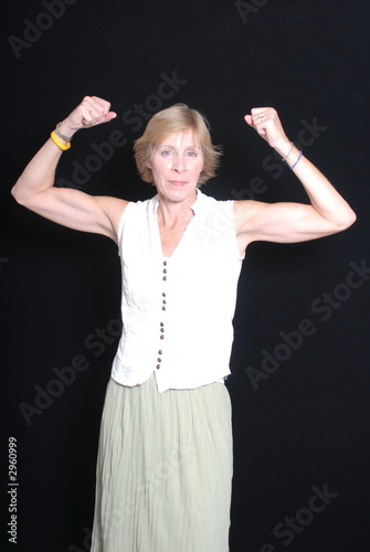 woman flexing muscles