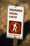 Endangered species habitat sign, Hawaii poster