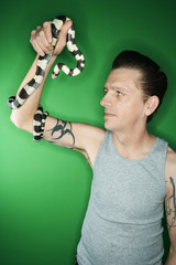 Man holding California Kingsnake.
