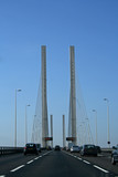 Fototapety driving on a cable-stayed bridge