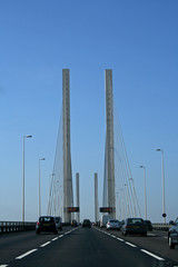 driving on a cable-stayed bridge