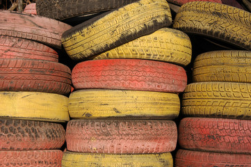 old used coloured tires