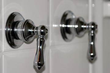 silver shower handles