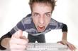 teenage boy angry at computer