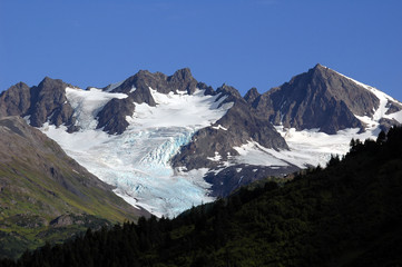 mountains and glacier in alaska