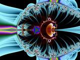 energy impulse on colourful background