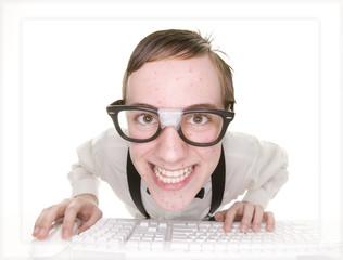 smiling computer nerd