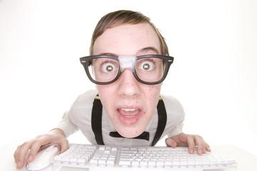 shocked computer nerd