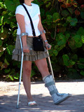 crutches and a broken ankle poster