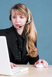 a customer service agent answering the telephone poster