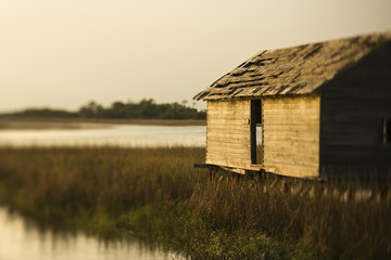 Building in marsh on Bald Head Island, North Carolina.