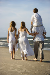 Family walking down beach.