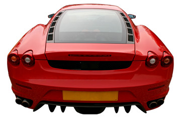 back of red supercar