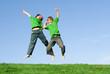 happy children jumping for joy