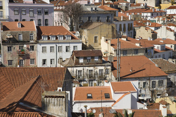 Aerial view of buildings in Lisbon, Portugal.