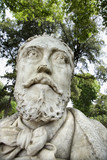 Close-up of statue of bearded man in Rome, Italy. poster
